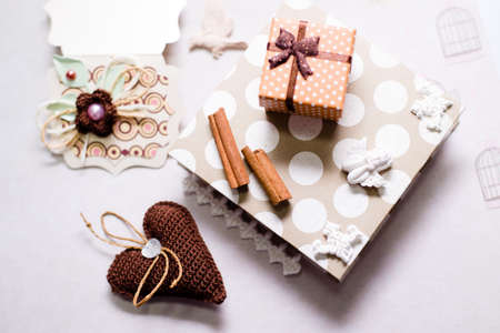 Close up image of gift set on artistic copy space background photo