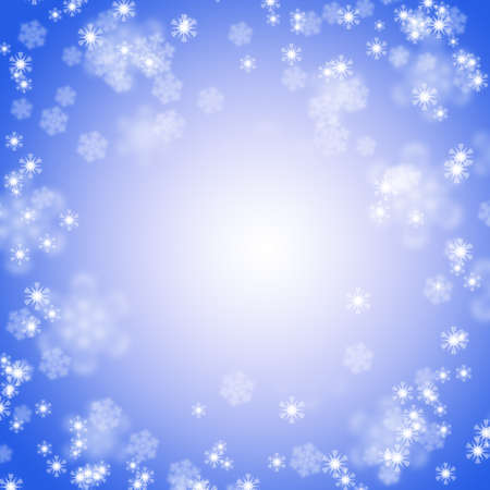 ultramarine: Picture of white snowflakes and lights on bright ultramarine background. Square digital wintertime festive background.