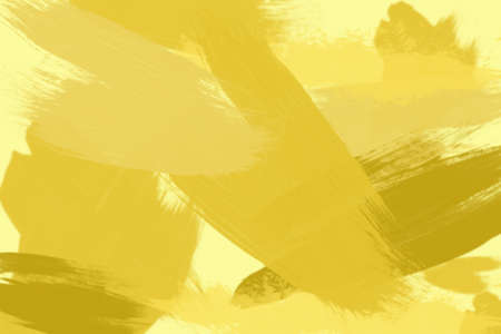 yellow ochre: Picture of many ochre and bronze brush strokes overlapping. Oil painting effect on pale yellow background. Stock Photo