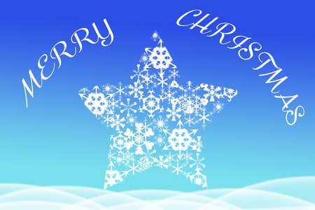 big star: Picture of Merry Christmas written above big star shaped from snowflakes. Artistic text on blurred blue background. Stock Photo