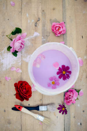 distemper: Concept of renovation of color bowl with lilac paint on wood board with flowers and two brushes