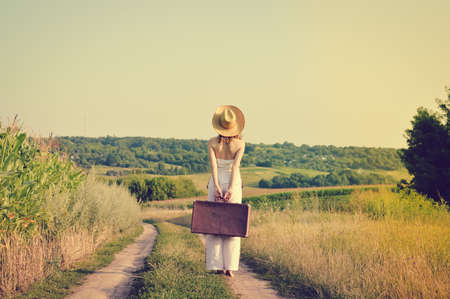 Picture Of Beautiful Young Exciting Woman In Straw Hat With Old