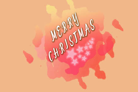 blurring: Orange Christmas illustration with diagonal Merry Christmas text and pink stars on colourful blurring Stock Photo