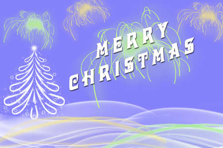 picture of merry christmas written beside white christmas tree with green and yellow fireworks bold - When Was White Christmas Written