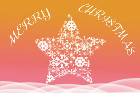 big star: Picture of Merry Christmas written above big star shaped from snowflakes. Artistic text on blurred red and orange background. Stock Photo