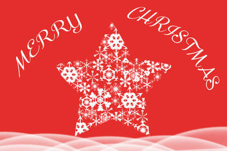 stellate: Christmas illustration on red background with white texting and amazing star composed of snowflakes Stock Photo