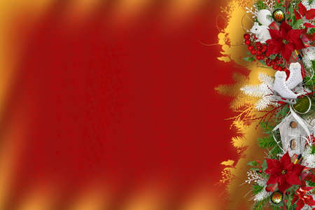 Christmas copyspace illustration with decorated pine branch on gradient red and yellow background
