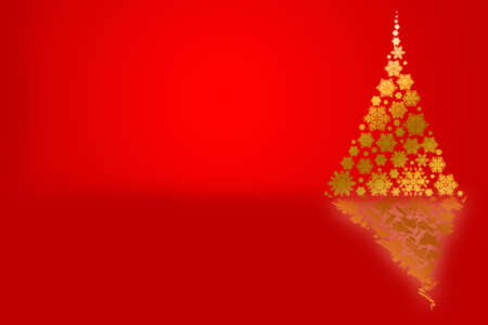 gold christmas background: Background with Christmas tree, festive design