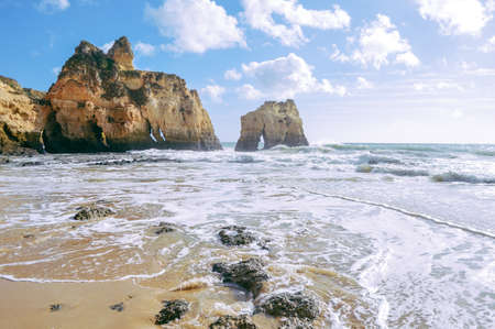 Sunny day, ocean cliffs, sand beach panorama view seascape outdoor inspiring pleasure background Фото со стока