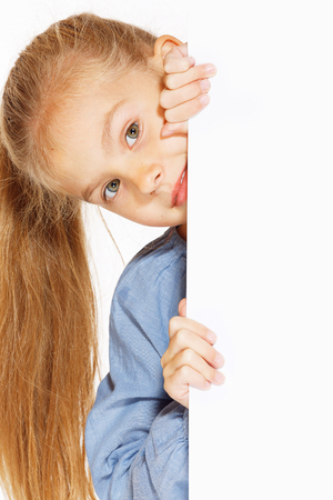 cardboard only: Little girl with blank sign isolated on white