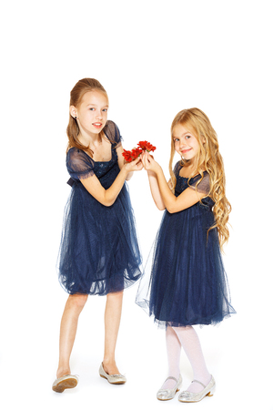 baby girls smiley face: Two charming little girls in a blue dresses with flowers Stock Photo