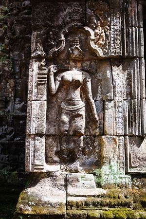 built: Khmer architecture in Banteay Srei temple that was built in 968, Siem Reap, Cambodia. Stock Photo