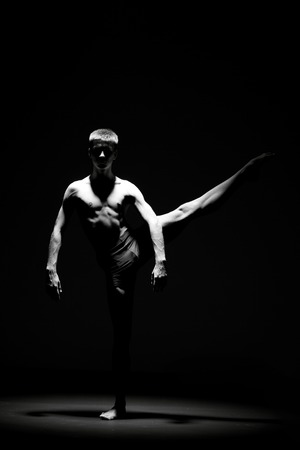 arts: Creative picture with dancer in motion - Black and white image