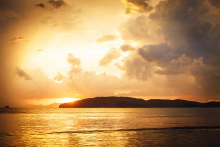 orange sunset: Beautiful sunset on the beach in Thailand