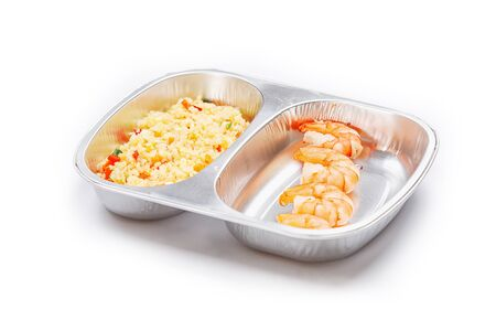 box size: Portion of food in the container isolated on white