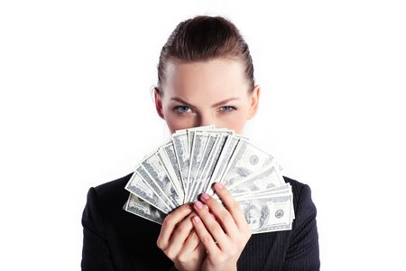 Business woman in black suit with money isolated on white Stock Photo