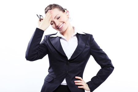attractive  female: Beautiful business woman in black classic business suit Stock Photo