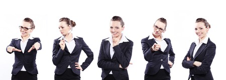 corporate women: Beautiful business woman in black classic business suit Stock Photo
