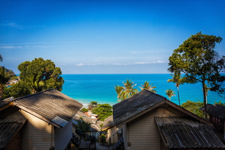 architecture bungalow: The roof of the Bungalow with blue sea and green trees