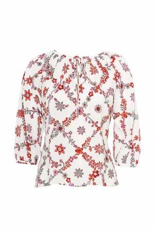 short sleeved: Womens colorful shirt isolated on white studio shot
