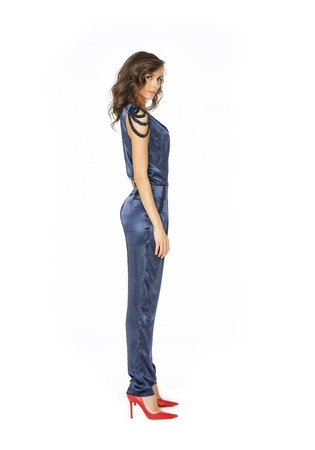 blue overall: Fashion model standing in blue overall isolated on white Stock Photo