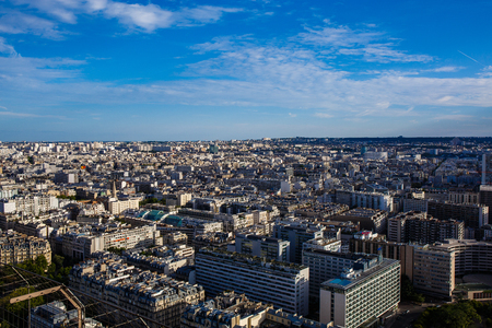 apartment blocks: Apartment blocks in Paris, France, view from the Eiffel Tower Stock Photo