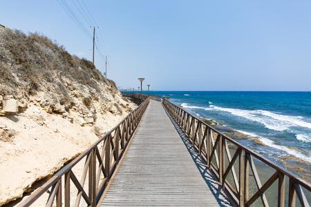 Wooden bridge near the sea in Cyprus