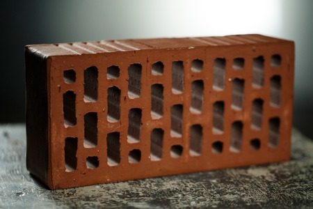 Closeup view of bricks with holes studio shot