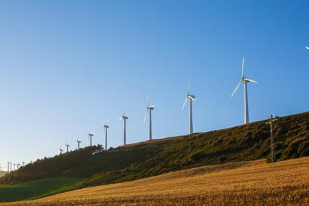 風車とスペイン村の風景 写真素材