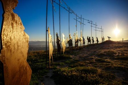 Silhouettes of pilgrims