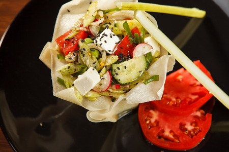 Vegetable salad with tomato and celery Stock Photo