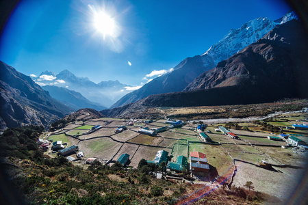 City in the mountains of the Himalayas Stock Photo