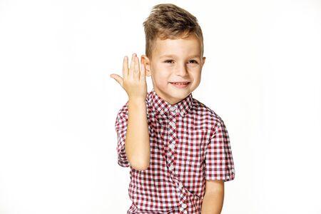 handsome boy in shirt on white background