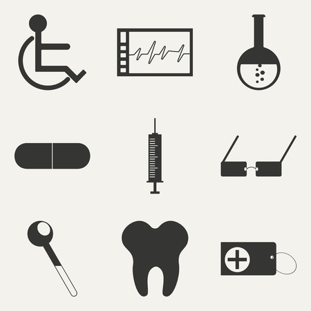 Flat in black and white concept mobile application medicine icons Vector