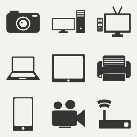 Flat in black and white concept mobile application technology icons Vector