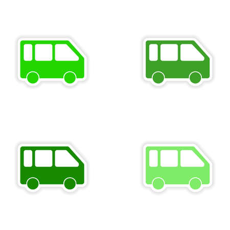 mini van: assembly realistic sticker design on paper mini van  Illustration