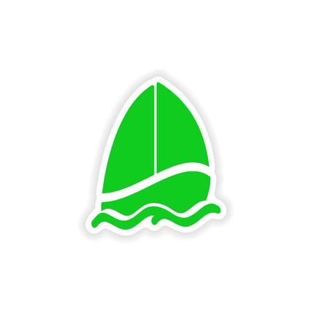 icon sticker realistic design on paper sailing boat Vector