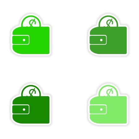 purses: assembly realistic sticker design on paper purses Illustration