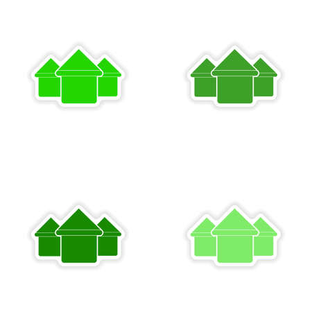 assembly realistic sticker design on paper houses Vector