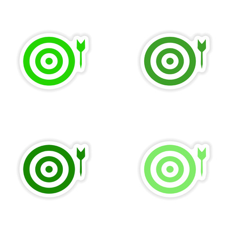 assembly realistic sticker design on paper darts Vector