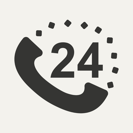 around the clock: Flat in black and white mobile application call around clock