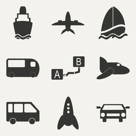 Flat in black and white concept mobile application trasports icons Vector