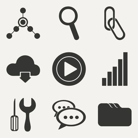 Flat in black and white concept mobile application internet icons