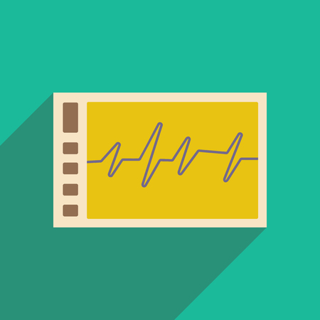 Flat with shadow icon and mobile applacation monitor cardiogram Vector