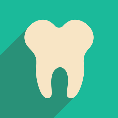 Flat with shadow icon and mobile applacation teeth Vector