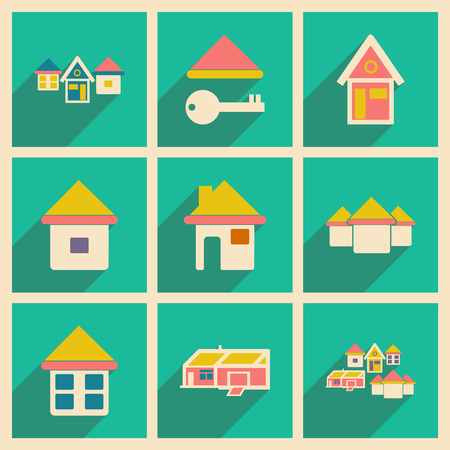 Flat with shadow concept and mobile application houses icons Vector