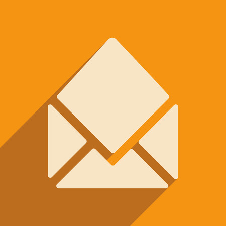 open envelope: Flat with shadow icon and mobile applacation open envelope Illustration