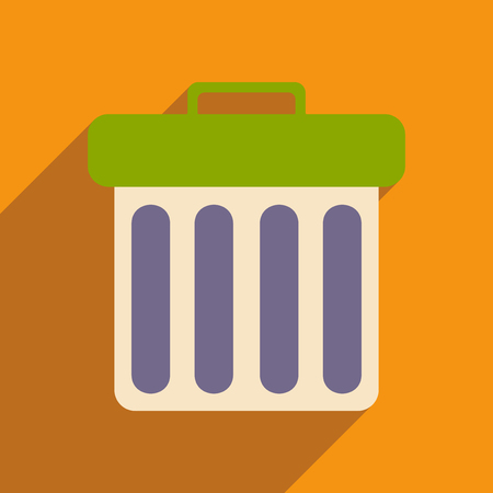 waste basket: Flat with shadow icon and mobile applacation waste basket