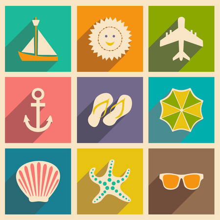 drizzle: Flat with shadow concept and mobile application travel icons