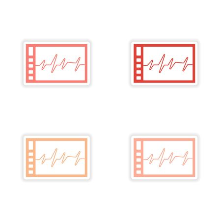 cardiogram: assembly realistic sticker design on paper cardiogram Illustration